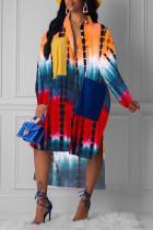 Colour Fashion Casual Plus Size Print Tie Dye Split Joint Slit Turndown Collar Shirt Dress