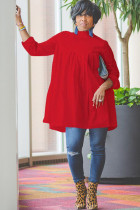 Red Sexy Cap Sleeve Long Sleeves O neck A-Line Knee-Length Solid Draped Patchwork Club Dresses
