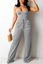 Grey Fashion Sexy Solid Split Joint Backless Spaghetti Strap Sleeveless Two Pieces