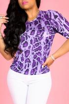 Purple Sexy Animal Print Split Joint O Neck T-Shirts