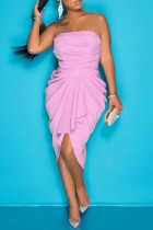 Pink Purple Fashion Sexy Solid Backless Strapless Irregular Dress