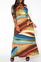 Yellow Fashion Casual Plus Size Print V Neck Long Dress
