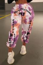 Purple Fashion Casual Letter Print Tie-dye Regular High Waist Trousers