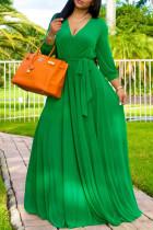 Green Fashion Casual Solid Bandage V Neck Long Sleeve Dresses