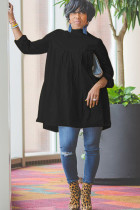 Black Sexy Cap Sleeve Long Sleeves O neck A-Line Knee-Length Solid Draped Patchwork Club Dresses