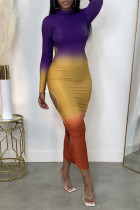 Purple Sexy Gradual Change Print Hollowed Out Split Joint O Neck One Step Skirt Dresses