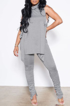 Grey Sexy Casual Solid Bandage Fold Turtleneck Sleeveless Two Pieces