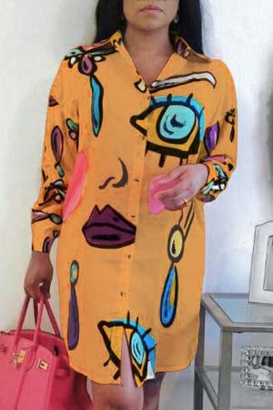 Orange Sexy O Neck Patchwork Print Plus Size