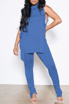 Blue Sexy Casual Solid Bandage Fold Turtleneck Sleeveless Two Pieces