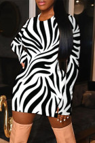 Black Fashion Casual Print Basic O Neck A Line Dresses