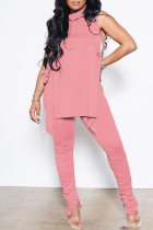 Pink Sexy Casual Solid Bandage Fold Turtleneck Sleeveless Two Pieces