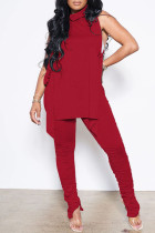 Red Sexy Casual Solid Bandage Fold Turtleneck Sleeveless Two Pieces