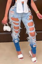 Blue Fashion Casual Gradual Change Ripped High Waist Regular Jeans