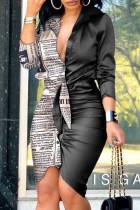 Black And White Fashion Street Print Split Joint V Neck Irregular Dresses