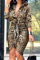 Leopard Print Fashion Street Print Split Joint V Neck Irregular Dresses
