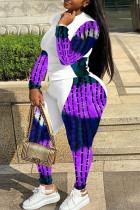 Purple Fashion Casual Print Split Joint O Neck Plus Size Two Pieces