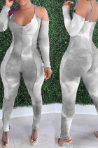 Grey Sexy Patchwork Tie-dye Halter Skinny Jumpsuits