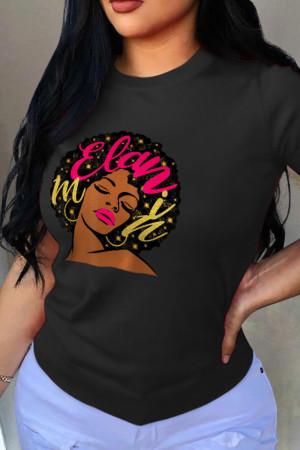Black Street Print Split Joint O Neck T-Shirts