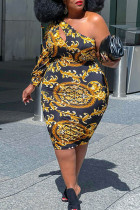 Golden Yellow Sexy Print Hollowed Out Split Joint Oblique Collar A Line Plus Size Dresses