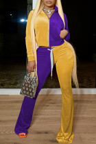 Purple Yellow Casual Solid Split Joint  Contrast Zipper Zipper Collar Three Quarter Two Pieces