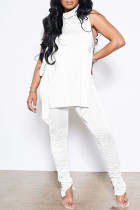 White Sexy Casual Solid Bandage Fold Turtleneck Sleeveless Two Pieces