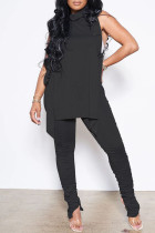 Black Sexy Casual Solid Bandage Fold Turtleneck Sleeveless Two Pieces