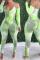Green Sexy Patchwork Tie-dye Halter Skinny Jumpsuits