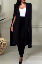 Black Fashion Casual Solid Slit Turn-back Collar Long Sleeve Two Pieces
