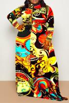 Yellow Fashion Casual Print Split Joint Zipper Collar Long Sleeve Plus Size Dresses