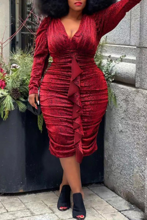 Red Fashion Casual Solid Split Joint V Neck Long Sleeve Plus Size Dresses