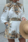 White Casual Print Split Joint Half A Turtleneck Long Sleeve Two Pieces