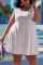 White Casual Solid Split Joint O Neck Cake Skirt Plus Size Dresses