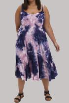 Purple Fashion Sexy Print Split Joint Spaghetti Strap A Line Dresses