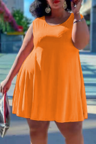Tangerine Red Casual Solid Split Joint O Neck Cake Skirt Plus Size Dresses