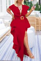 Red Fashion Celebrities Solid Split Joint V Neck Irregular Dresses