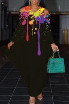 Black Elegant Print Hollowed Out Split Joint Asymmetrical Zipper V Neck Lantern Skirt Dresses