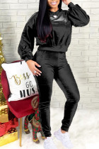 Black Casual Solid Split Joint Frenulum With Bow O Neck Long Sleeve Two Pieces