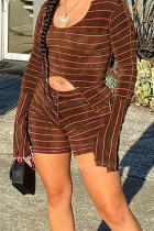 Coffee Casual Striped Print Split Joint Asymmetrical Long Sleeve Two Pieces