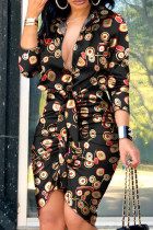 Multicolor Fashion Street Print Split Joint V Neck Irregular Dresses