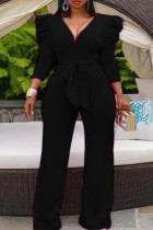 Black Casual Solid Split Joint With Belt V Neck Straight Jumpsuits(Contain The Belt)
