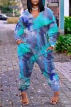 Blue Fashion Casual Print Tie Dye Basic V Neck Plus Size Jumpsuits