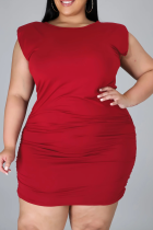 Burgundy Casual Solid Split Joint O Neck Pencil Skirt Plus Size Dresses