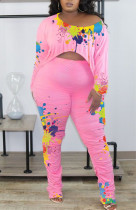 Pink Casual Print Split Joint Fold Asymmetrical O Neck Long Sleeve Two Pieces