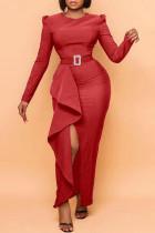 Red Fashion Elegant Solid Slit Without Belt O Neck Irregular Dresses(Without Belt)