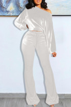 White Fashion Casual Solid Basic Oblique Collar Long Sleeve Two Pieces