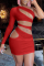 Red Sexy Solid Hollowed Out One Shoulder Pencil Skirt Dresses