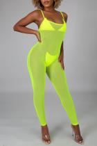 Green Sexy Solid Mesh Spaghetti Strap Skinny Jumpsuits