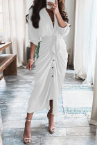 White Fashion Casual Patchwork With Belt V Neck Long Sleeve Dresses