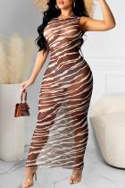 Black Fashion Sexy Print See-through O Neck One Step Skirt Dresses