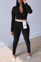 Black Fashion Casual Solid Without Belt Zipper Collar Long Sleeve Two Pieces